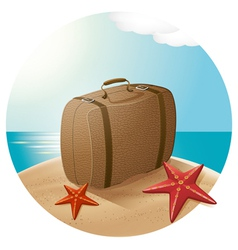 Suitcase at the sea beach vector