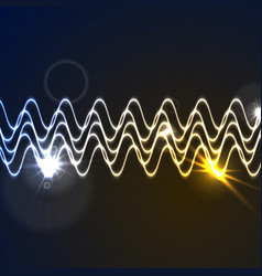 Glowing neon abstract waveform background vector