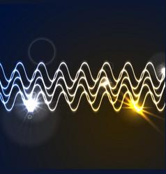 Glowing neon abstract waveform background vector