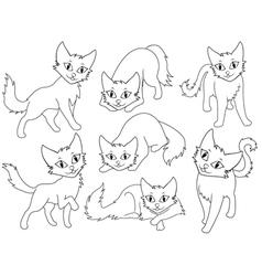 Seven funny cartoon cats vector image
