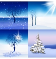 Winter landscape set vector
