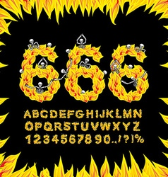 666 font Hell ABC Fire letters Sinners in fiery vector image vector image