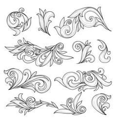 Abstract swirls page ornaments calligraphic vector