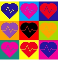 Heartbeat sign pop-art style icons set vector