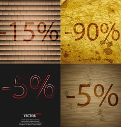 90 5 icon set of percent discount on abstract vector