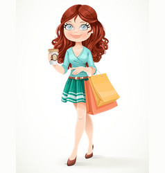 Beautiful girl with shopping bags and a paper cup vector image vector image