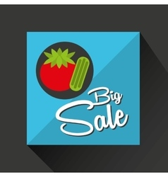 Big sale concept juicy tomato vector