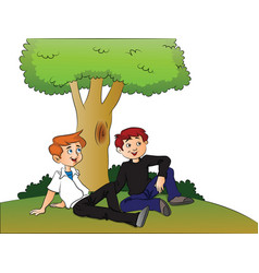 boys relaxing under a tree vector image