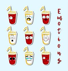 Cartoon beverage cup cute character face sticker vector