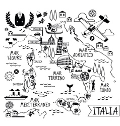 Cartoon Map of Italy vector image vector image