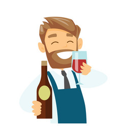 caucasian waiter holding glass and bottle of wine vector image vector image