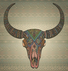 Decorative indian bull scull in tribal style on vector