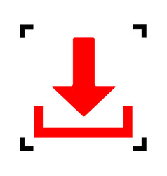 Download sign red icon vector