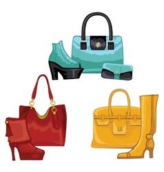 Fashionable colored womens boots shoeshandbags vector