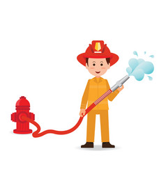 Fireman spraying a water hose isolated on white vector