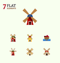 Flat icon energy set of windmill power wind vector