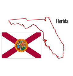 Florida state map and flag vector
