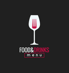 food and drink logo design wine glass and fork vector image vector image