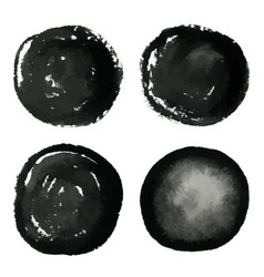 Hand drawn grunge circles ink watercolor banner vector