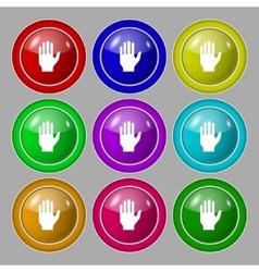 Hand print sign icon stop symbol set colour vector