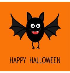 Happy Halloween card Cute cartoon bat flying vector image