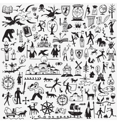 History fairy tale doodles vector