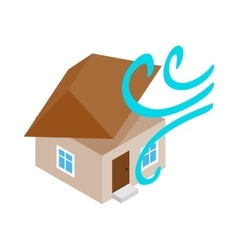 House destroyed by hurricane icon vector