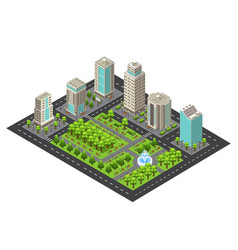 Isometric light cityscape concept vector