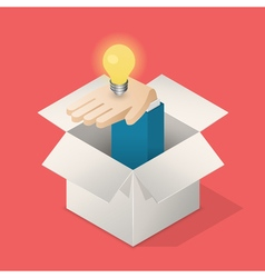 Lightbulb in hand in box vector