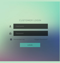 Modern login ui form template design with blurred vector
