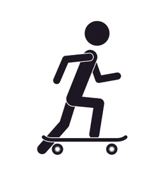 monochrome silhouette of man with skateboard vector image