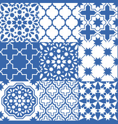 Moroccan tiles design seamless navy blue pattern vector