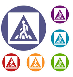 pedestrian road sign icons set vector image vector image