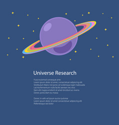 Planet saturn isolated and text vector