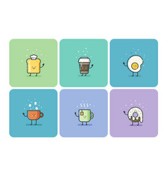 set of breakfast food flat icons cute cartoon vector image