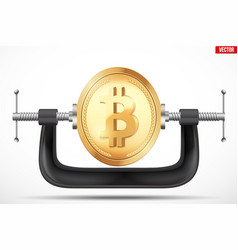 Symbol of bitcoin being squeezed in a vice vector