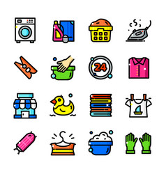 Thin line laundry icons set vector