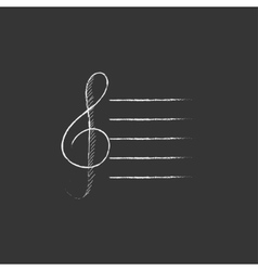 Treble clef drawn in chalk icon vector