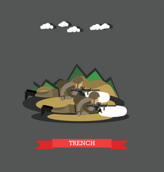 Trench concept in flat style vector