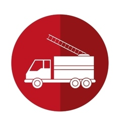Truck fire rescue urgency attention red circle vector