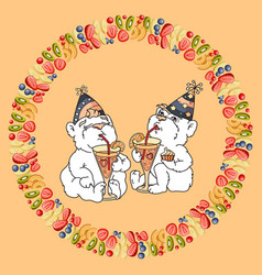 two cute bears are drinking a fruit cocktail vector image