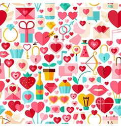 Valentine Day Flat Design White Seamless Pattern vector image vector image