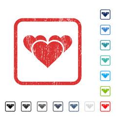Valentine hearts icon rubber watermark vector