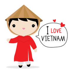 vietnam women national dress cartoon vector image vector image