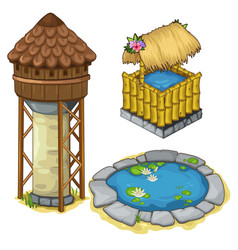 Water tower a well and decorative lake vector