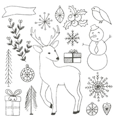 Winter hand drawn elements collection vector image