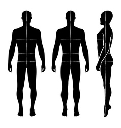 Fashion bald man full length template figure silho vector