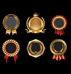 Golden badges vector