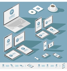 Corporate identity isometric mock-up template vector