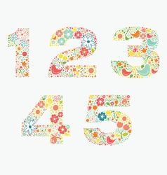 Ornamental floral numbers 12345 vector